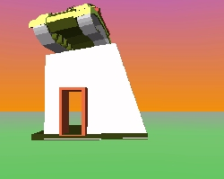 Snap of virtual sculpture of a army tank above a freestanding doorway